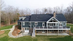 back of grey custom home