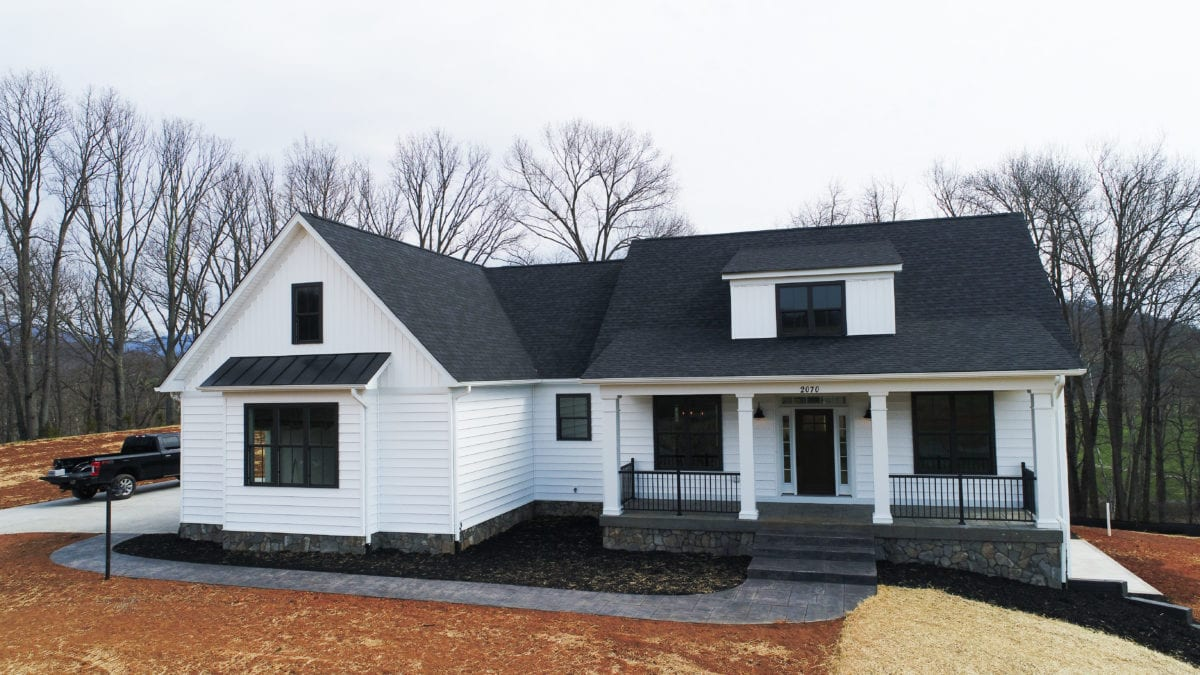 White front of custom home