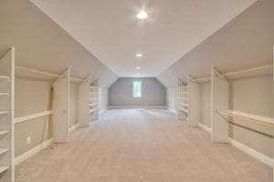 spacious closet in custom home