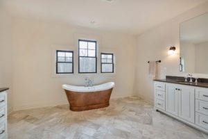 bath tub in custom home built by True Living