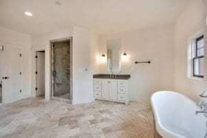 shower and vanity in bathroom