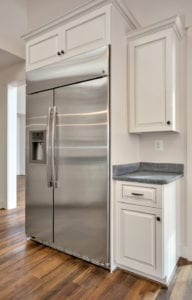kitchen view with fridge
