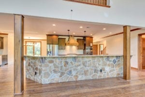 kitchen island of custom home
