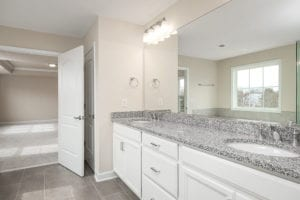 vanity and mirrors in master bathroom